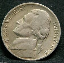 1938 D Jefferson Nickel, Key Date, Above Avg Circulated, Low Mintage-5.3 Mil