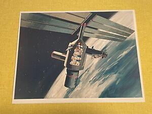 Original Future Space Station Concept Art Photograph Rockwell NASA