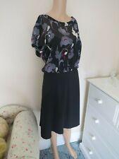 DKNY DRESS SIZE UK 14 STRETCH SILK MULTI PRINT TOP BLACK CREPE SKIRT MAXMARA L