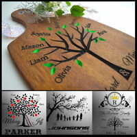 Personalised Engraved Sign Family Tree Wood Birthday Gift Cutting Board Wooden