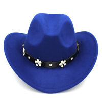 Adult Wool Western Cowboy Hat Wide Brim Cowgirl Cap Flower Charms Leather Band