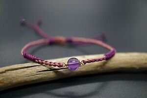 Braided Amethyst Lucky Rope Adjustable Bracelet Couple Bracelet Tibetan Buddhist