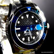 Mens Invicta Thin Blue Line Pro Diver Black Carbon Fiber Steel 14702 Watch New