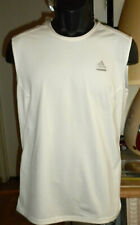 New Men'S Adidas Climalite Tech-Fit Sleeveless Boat Neck Pullover White Sz M