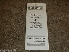 1945 45 HARLEY DAVIDSON TWIN MODELS SERVI-CAR OWNER OWNERS OWNER'S MANUAL