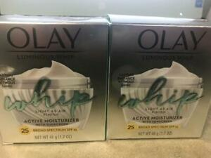 2 Olay Total LUMINOUS Whip Active Moisturizer Fragrance Free With SPF 25, LQQK
