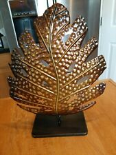 Large Leaf Wall Art Philadendron Split Leaf Elegant Brn & Gold Metal w/Tin Base