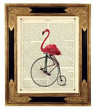Flamingo une Steampunk Art pression sur Antique Victorienne page Bike