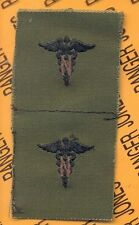US Army Nurse Corps Branch OD Green & Black sew on patch set