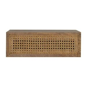 Wall Mounted Rattan Bedside Table