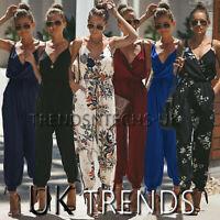 UK Women Floral Pocket Playsuit Ladies Summer Long Jumpsuit Trousers Plus Size