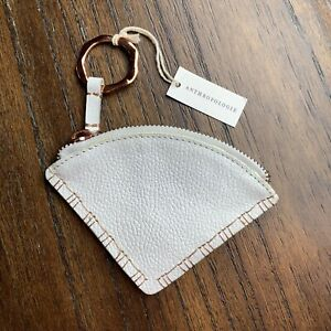 NWT Anthropologie White Leather Coin Bag purse pouch triangle rose gold color