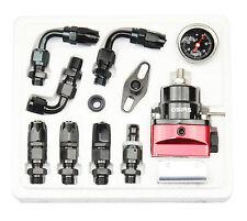 New Black & Red Adjustable Fuel Pressure Regulator Kit  AN 6 Fitting End #