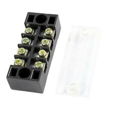 3 Pcs 600V 15A 4 Positions Dual Rows Covered Barrier Screw Terminal Block Strip