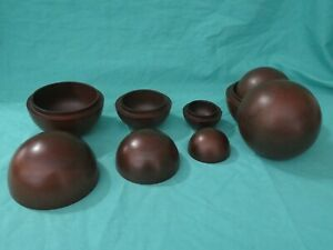 2x Set 3 Mahogany Wood Nesting Balls Master Carvers Island of the Bali Non