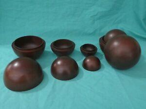2x Set 3 Mahogany Wood Nesting Balls Master Carvers Island of the Bali Non ...