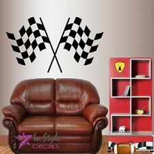 Vinyl Decal Crossed Checkered Flags Racing Street Race Boys Wall Sticker 1921