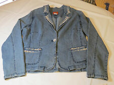 Womens juniors Hearts Of Palm long sleeve 10531 denim jacket bling blue 14 NWT