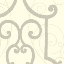 Wallpaper Designer Silver Iron Gate Trellis on Eggshell White