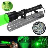 Tactical 6000lm 3X LED Flashlight Torch Light Lamp Rifle Hunting  Mount 18650