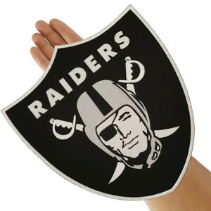 """Raiders Nation Football Logo Large Size 11.0""""x 12.0"""" Embroidered Iron on Patch"""