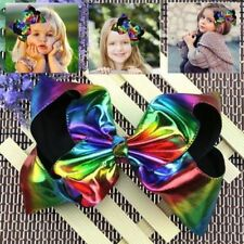 LX_ HK- New Large Rainbow Reversible Leather Hair Bow Queen Dance Moms Cheer