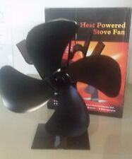 4 Blades Heat powered Wood Stove Fan - High Air Flow - Black