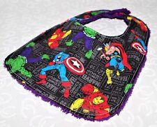 Handmade Black Marvels Character Baby Bib 100% cotton Terry Cloth Backing