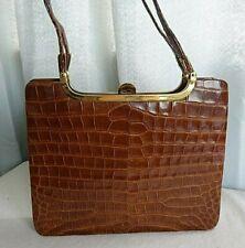 Vintage 1950's huge honey coloured glossy crocodile skin handbag
