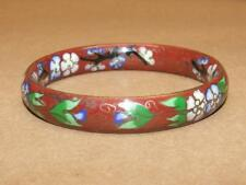 Vtg Brass Brown With Blue Green Cloisonne Enamel Flower Wide Bangle Bracelet 8""