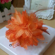 Corsage Flower Fascinator Pin Handmade Hair Clips Feather Hairband Accessory Hot