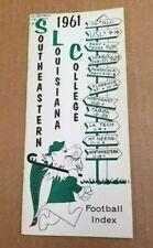 SOUTHEASTERN LOUISIANA COLLEGE FOOTBALL MEDIA GUIDE - 1961 - GSC CHAMPIONS