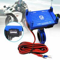 Blau CNC Motorrad Lenker GPS-Telefonhalter Halterung mit 2.5A USB-Ladegerät