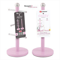 6 Mug Tree and Kitchen Roll Holder Stand Storage Rack Stainless Steel Set - Pink