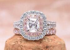 Certified 3.10Ct White Cushion Cut Diamond Engagement 14K White Gold Ring