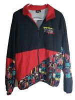 Vintage Reebok Mens Team Tinley Windbreaker Black Red Colorblock 80s Jacket Sz L