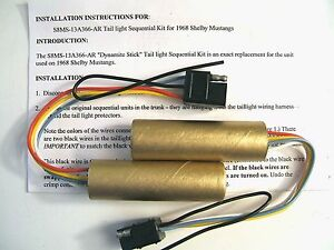 S1L) 1968 SHELBY MUSTANG SEQUENTIAL TAILLIGHT DYNAMITE STICK  sequencer