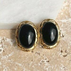 Estate Vintage 14KT Yellow Gold Oval Black Onyx Omega Back Earrings Scalloped
