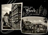 Horb am Neckar alte Zweibild Grußkarte 1964 gelaufen Teilansicht Straßenpartie