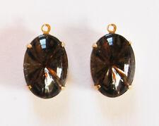 VINTAGE 2 BLACK DIAMOND SUNBURST INTAGLIO GLASS OVAL PENDANT BEAD 16x11mm