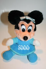 "MINNIE MOUSE Sits 7"" Plush Mickeys Christmas Carol Blue Dress Disney Stuffed Vtg"
