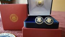 CUFF LINKS 24K GOLD-PLATED VVIP GEORGE W BUSH PRESIDENTIAL BLUE COBALT