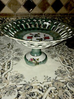 Pedestal Compote Dish Hand Painted Vintage Betson Floral  Green With Pink Roses