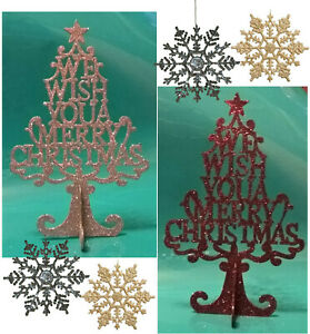 CHRISTMAS TREE SNOWFLAKES GLITTER GOLD SILVER PURPLE HOME XMAS PARTY DECORATIONS