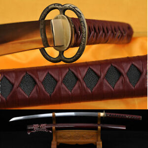 Leather ITO Folded DAMASCUS Blade Japanese Samurai Fuctional Sword KATANA SHARP