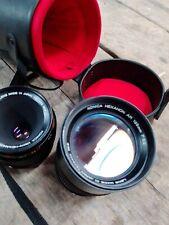 Konica Hexanon AR lenses lot 55mm and 135mm plus case