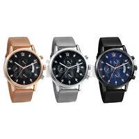 Men's Roman Numeral Rhinestone Scale Calendar Dial Analog Quartz Wrist Watches
