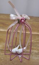 Vintage Doll House Miniature Dollhouse Pink Love White Bird Pink Cage Ornament
