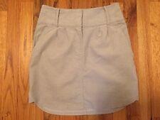 Kookai Lt Khaki 99% Cotton Beige Tan Corduroy Flat Front Mini Pencil Skirt SZ 36