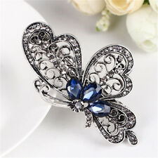 Vintage Womens Crystal Rhinestone Blue Butterfly Hair Barrette Clip Claw Jewelry